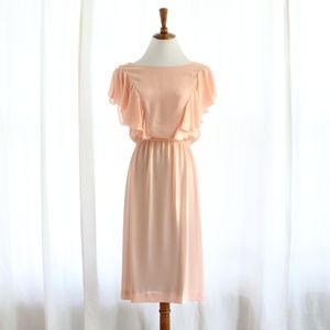 70s Vtg Blush Pink Flutter Sleeve Midi Dress